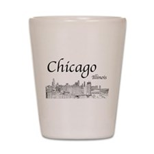 Chicago on White Shot Glass
