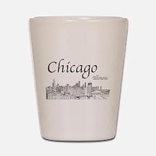 Chicago on White Shot Glass
