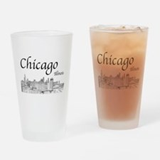 Chicago on White Drinking Glass