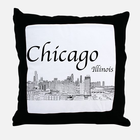 Chicago on White Throw Pillow