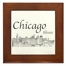 Chicago on White Framed Tile
