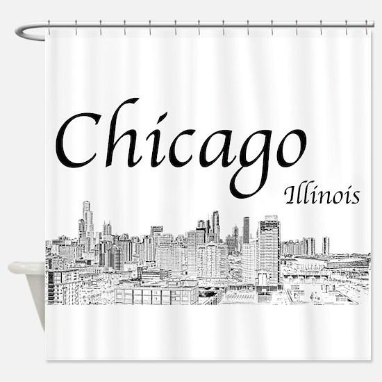 Chicago on White Shower Curtain