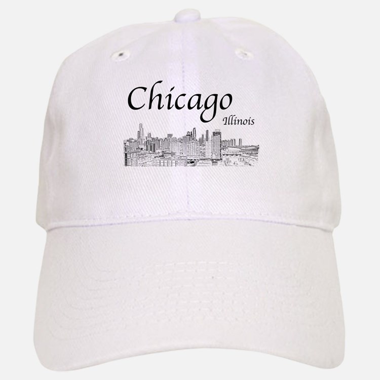 Chicago on White Baseball Baseball Baseball Cap