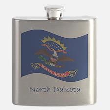 Waving North Dakota Flag And Name Flask