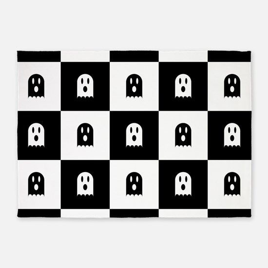 Cute Scary Ghost Checkered Pattern 5'x7'Area Rug