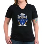 Estela Family Crest Women's V-Neck Dark T-Shirt