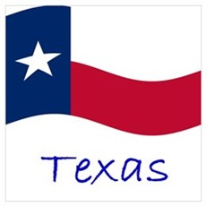 Waving Texas Flag Canvas Art
