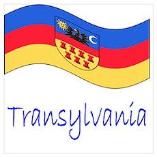 Waving Transylvania Historical Flag Poster