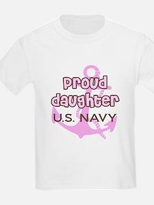 Navy - Proud Daughter Pink an T-Shirt