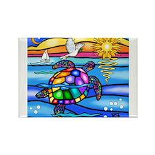 Funny Cartoon turtle Rectangle Magnet