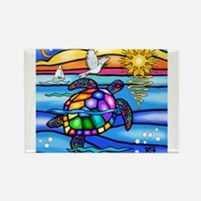 Cool Colorful turtle Rectangle Magnet