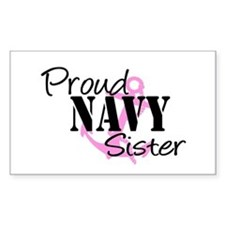 Proud Navy Sister - Pink Anch Sticker (Rectangular