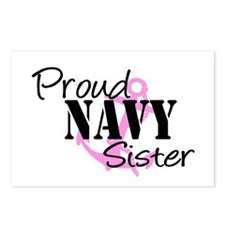 Proud Navy Sister - Pink Anch Postcards (Package o