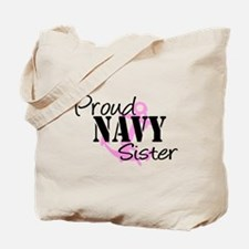 Proud Navy Sister - Pink Anch Tote Bag