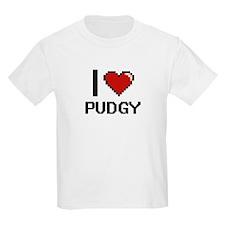 I Love Pudgy Digital Design T-Shirt