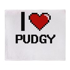 I Love Pudgy Digital Design Throw Blanket