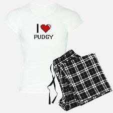 I Love Pudgy Digital Design Pajamas
