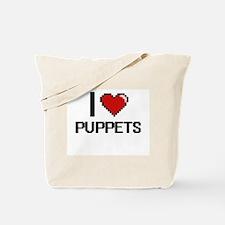 I Love Puppets Digital Design Tote Bag