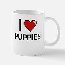 I Love Puppies Digital Design Mugs