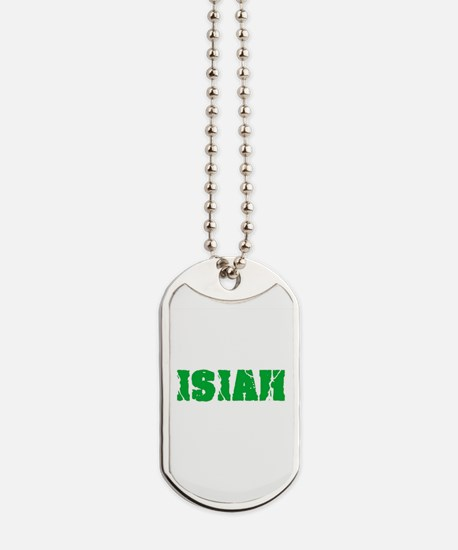 Isiah Name Weathered Green Design Dog Tags