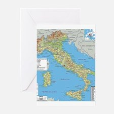 Map of Italy Greeting Cards