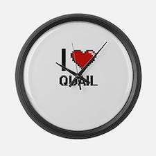 I Love Quail Digital Design Large Wall Clock