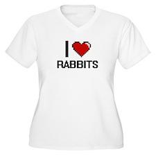 I Love Rabbits Digital Design Plus Size T-Shirt