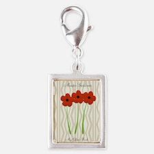 Cute Mom Gardener Flower Silver Portrait Charm