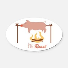 Pig Roast Oval Car Magnet