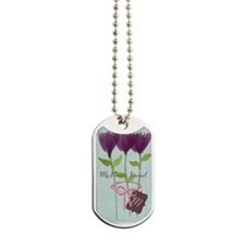 Custom Watercolor Violet Flowers Pastels Dog Tags