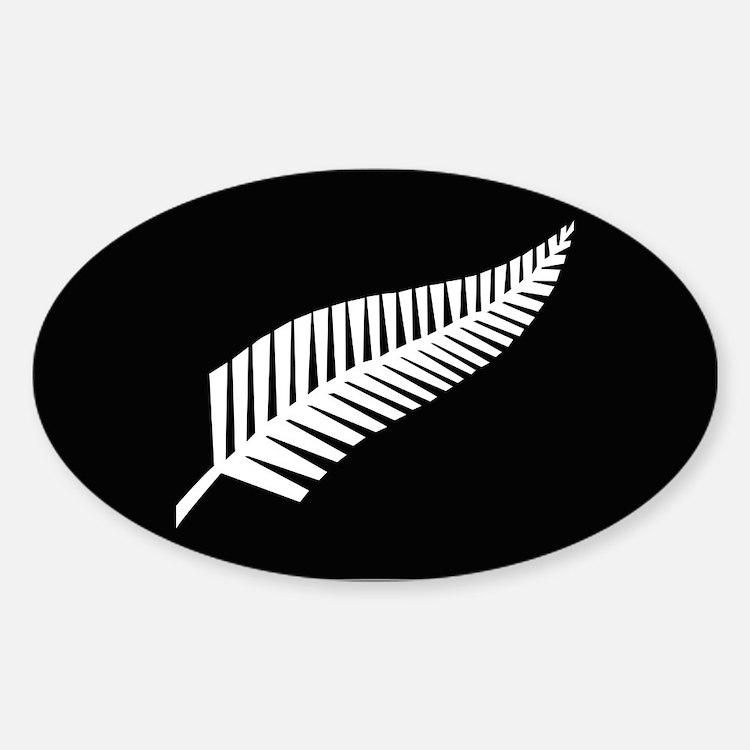 Silver Fern Flag Sticker (Oval)