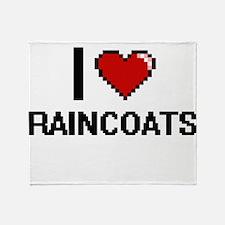 I Love Raincoats Digital Design Throw Blanket