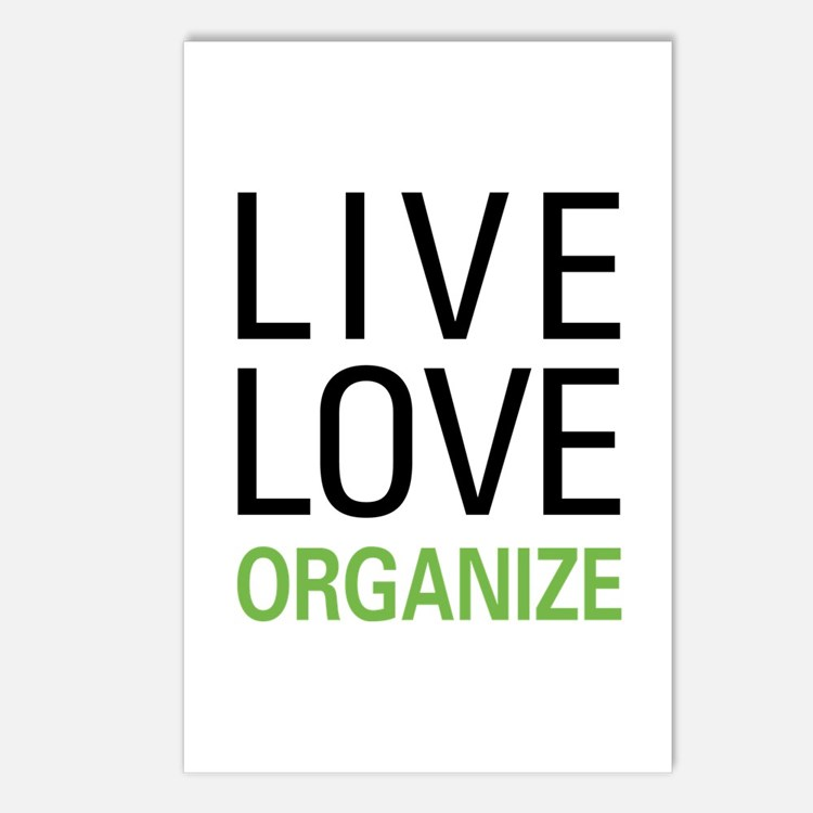 Live Love Organize Postcards (Package of 8)