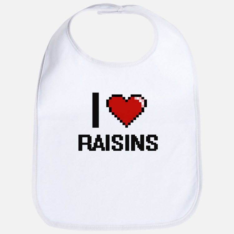 I Love Raisins Digital Design Bib