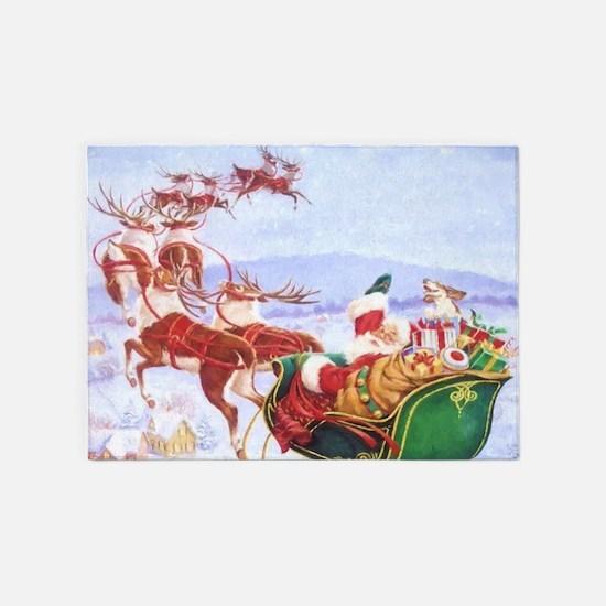Santa with the sleigh 5'x7'Area Rug