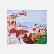 Santa with the sleigh Throw Blanket