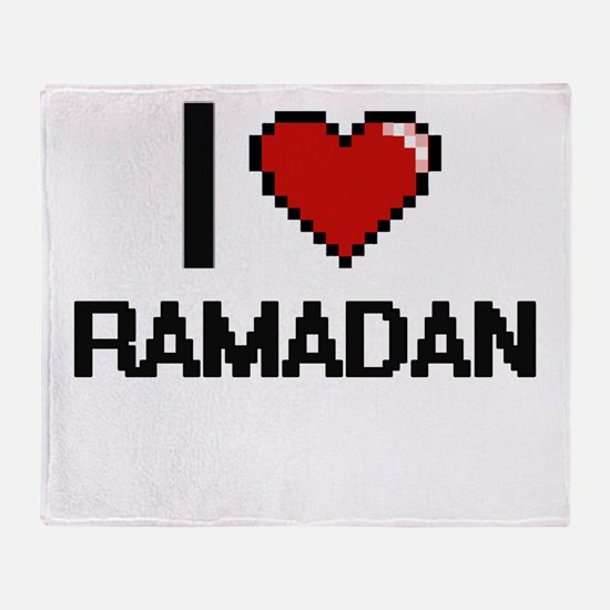 I Love Ramadan Digital Design Throw Blanket