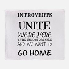 Introverts Unite Black Throw Blanket
