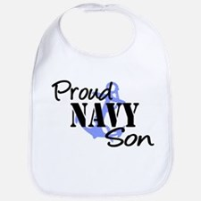 Proud Navy Son - Blue Anchor Bib