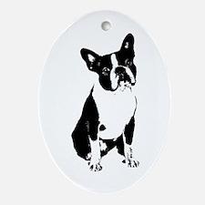 Boston Terrier Black and White 1 Oval Ornament