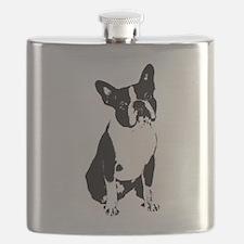 Boston Terrier Black and White 1 Flask