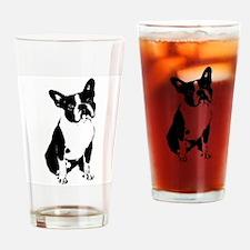 Boston Terrier Black and White 1 Drinking Glass