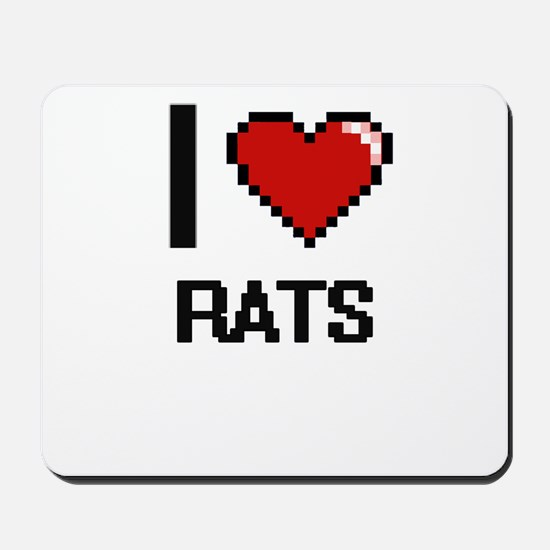 I Love Rats Digital Design Mousepad