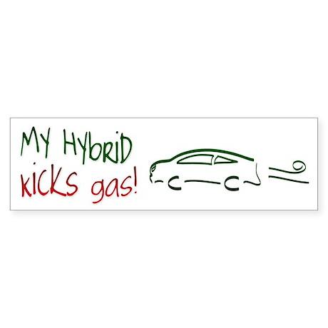 Hybrid Car Kicks Gas Bumper Sticker