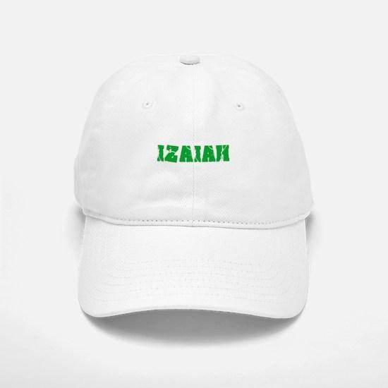 Izaiah Name Weathered Green Design Baseball Baseball Cap