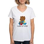 Class Of 2028 school bear Women's V-Neck T-Shirt