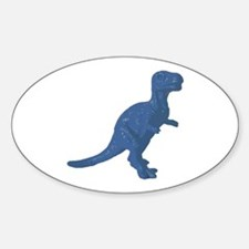 Blue Oldschool T.rex Oval Decal