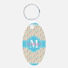 Aqua and Pink Floral Patter Keychains
