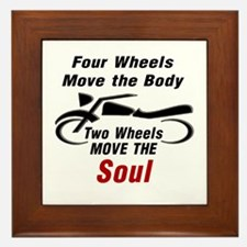 MOTORCYCLE - FOUR WHEELS MOVE THE BODY Framed Tile