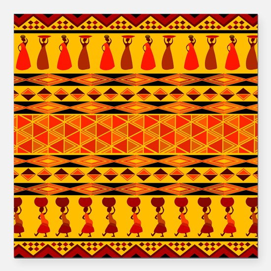 """African Traditional Ornament Square Car Magnet 3"""""""